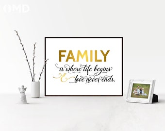 Family is Where Life Begins - Printable 16x20 Poster INSTANT DOWNLOAD Printable Quote - Living Room Decor - Bathroom Decor - Bedroom Poster