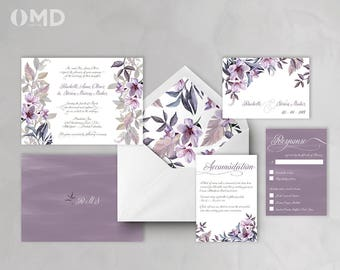 Fleur Printable Wedding Invitation - Customized Design - Elegant Printable Wedding Invitation Set - Purple Plum Gray Wedding DIY