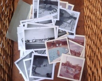 Old photos, collection of 1960s black and white photos / mid century house in California, pool project