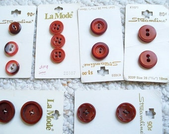 Cranberry, Deep Wine Red Buttons, Assortment of 14 new Vintage Buttons on Cards
