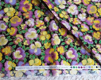 """Pansies on Quilting Grade Cotton Fabric, Windsor Collection by Hoffman International Fabrics, Over 2 Yards, 44"""" wide"""