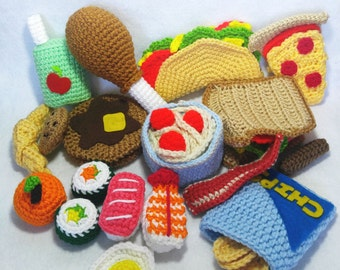 Crochet Play Food - Set of 15 - Breakfast - Lunch - Dinner- Soft Play Toys - Amigurumi Food