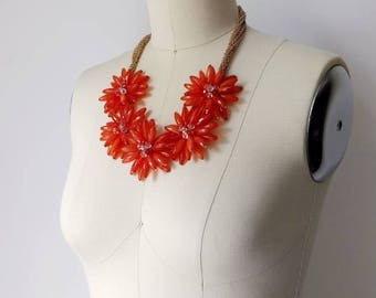 1960s Orange Beaded Flower Statement Necklace | Vintage 60s Burnt Orange And Gold Bib Necklace | Women's Spring Summer Jewelry Accessories