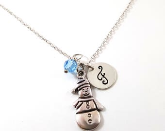Snowman- Silver- Swarovski Birthstone - Personalized Initial Necklace - Sterling Silver Jewelry - Gift for Her