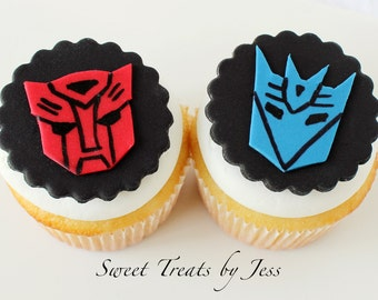 Set of 12 Transformers Fondant Edible Cupcake Toppers Autobots and Decepticons Logo