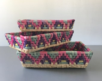 vintage woven raffia nesting basket trays pink purple boho decor set of 3