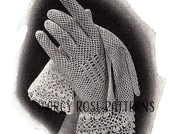 Instant Digital Pattern Women's Crochet 1930s Gloves with Irish Lace Cuffs #5706 PDF