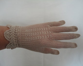 Vintage Taupe Cotton Crochet Gloves with Ladder Back Detail and Cuff Design - Size UK 6.5 to 7 - Ideal Bridal/Wedding/Prom Downton/Art Deco