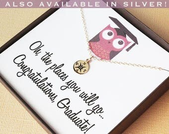 Graduation gift for daughter high school graduation gift college graduation gift for her gold compass necklace graduation jewelry