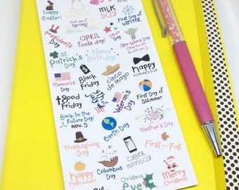 Holiday Planner Stickers, Planner Stickers, Holiday Planner, Kiss cut stickers, Planner Supplies, Holiday Stickers, Bullet Journal Stickers