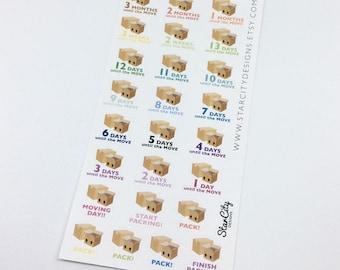 Moving Day Stickers, Moving Day stickers, Move stickers, Packing Stickers, Moving Planner Stickers, Pack stickers, Moving sticker sheet