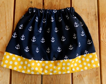 Navy with White Anchors and Mustard, Nautical Themed  Infant/Toddler Skirt