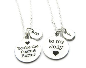 2 Best Friends Necklaces, Peanut Butter And Jelly Best Friends Necklaces, Sisters Necklaces, BFF Necklaces, Friends Necklaces, Personalized