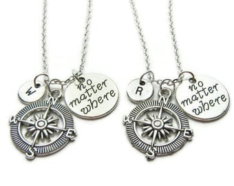 2 Best Friends Necklaces, No Matter Where Necklaces, Compass Necklaces, Friendship Necklaces, BFF, Sisters, Mother Daughter ,Personalized
