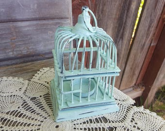vintage ocean mint green painted hanging  wrought iron wire bird cage birdcage candle votive holder decorating hanging candleabra patio
