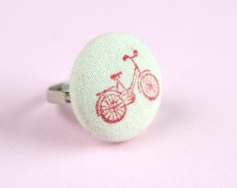 Bicycle Ring, Red Bicycle Fabric Ring, Fabric Covered Button Ring, Gifts For Cyclists