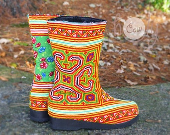Women's Tribal Vegan Boots, Womens Boots, Tribal Boots, Vegan Boots, Hmong Boots, Hippie Boots, Boho Boots, Orange Boots, Ethnic Boots