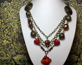 Blood Red and Bronze Statement Necklace.