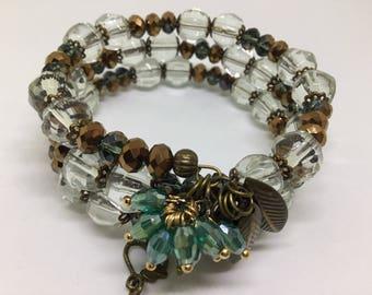 Bronze Czech Glass Cuff Bracelet.