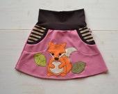 Girl fall applique skirt,girl fox skirt,fox jersey skirt,kids fall fox skirt,fall fashion,girl toddler fox clothes,pink jersey