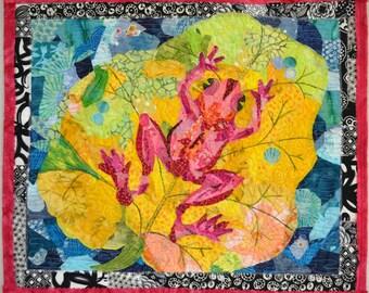 Abstract Art Quilt    Abstract Art  Fiber Art   Pam George Quilts  Small Wall  Quilt  Small Wall Quilt Collage Quilt