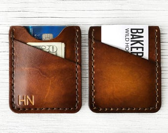 Personalized Men's Wallet, Leather Front Pocket Thin Men's Wallet - BUY IT ONCE - Men's or Women's,  Slim Minimalist Wallet, 3 Initials