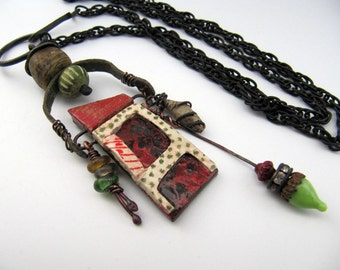 A Modest Need - rustic house necklace w/ artisan ceramics; chain pendant necklace, grungy tribal, red green primitive assemblage necklace