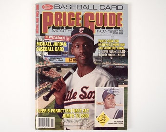 1990 Michael Jordan Baseball Card attached in the Sports Collectors Digest Nov 1990 Baseball Card Price Guide with Michael Jordan on Cover