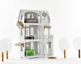 Cardboard luxury - Paper Imagination White Dollhouse  with brown details  - creative toy gift for girl