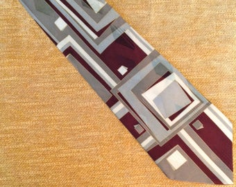 "Alexander Lloyd designer necktie silk tie 4"" wide extra long gray burgundy modern mod avant garde retro men's fashion accessory man gift"
