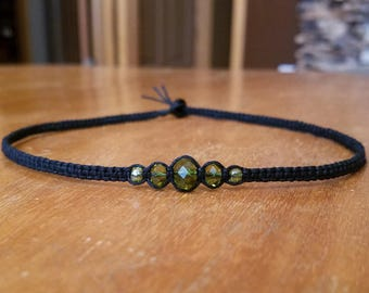 Green Beaded Necklace Green Necklace Green Choker Black Choker Necklace for Her Gifts Womens Choker Hemp Choker Custom Choker Hemp Necklace
