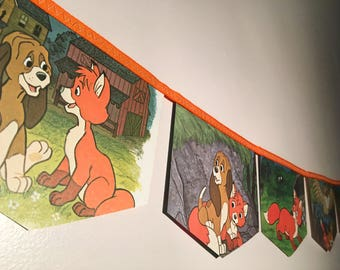 THE FOX and the HOUND hide and seek little golden book banner bunting garland baby shower disney nursery decoration birthday party