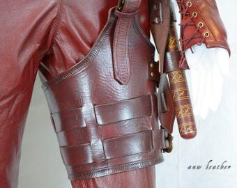 Mord'Sith Leg Guard Replica Red Armor Molded Veg Tan Brass Buckles Straps Legend Of The Seeker Cosplay Costume