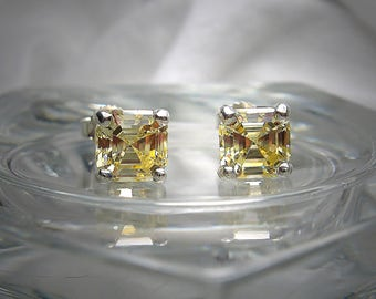 High Quality Canary 6mm Asscher Cut Cubic Zirconia Sterling Silver Stud Earrings