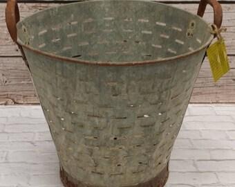 Vintage Salvage Olive Bucket Basket