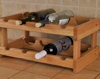 Red Oak 8-bay wine rack with cherry stain