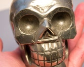 Pyrite Fools Gold Crystal Skull Giant Sized Hand Carved Priced reduced 4 1/4 Inches Helps Create Large Cash Flow!