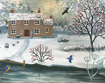Print of snowy English Landscape with kingfishers from an acrylic original painting 'Winter at Kingfisher Cottage' by Jo Grundy