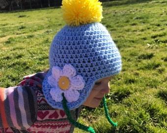 Spring Daisy Pompom Beanie - Toddler Size 12-24 months