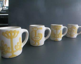 Rare M. A. Hadley Yellow Decoration Mugs Set of 4