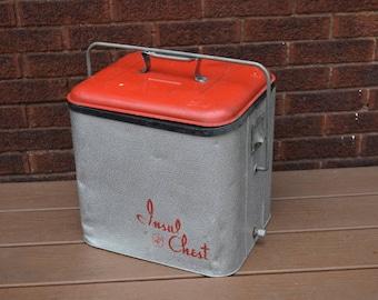 Vintage Cooler, Vintage Red Cooler, Insul Chest