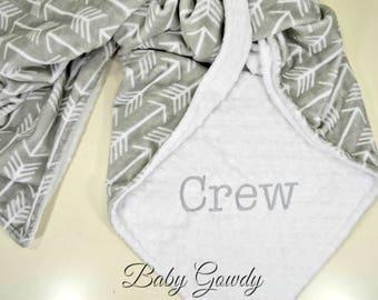 Personalized Minky Baby Blanket - Silver Archer Minky - Snow White Minky Dimple Dot - Arrow Minky Blanket - Custom Baby Blanket - Monogram