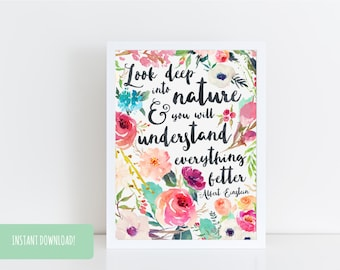 Typography Quote Digital Print 'Look Deep Into Nature' a4 & a5 PDFs Included INSTANT DOWNLOAD