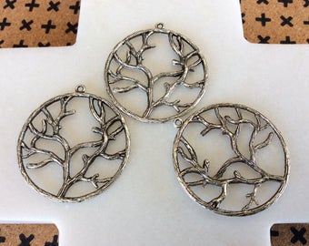 Antique silver tone branch charm pendants