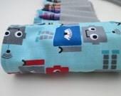 Robot Crayon Roll, Crayon Holder, Toddler Birthday Favor, Ready to Ship, Includes 16 Crayola Crayons