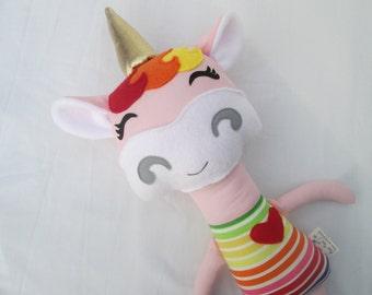 Unicorn Softie, rainbow baby, rainbow, rainbow unicorn, Made to Order, Unicorn Stuffed Animal