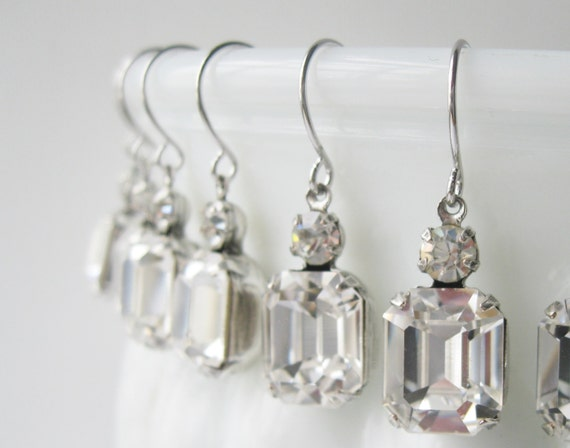 Crystal Bridesmaid Earrings SET OF 6 PAIRS Silver Plated Crystal Wedding Swarovski Elements Bridal Gift Set Art Deco Rhinestone Earrings