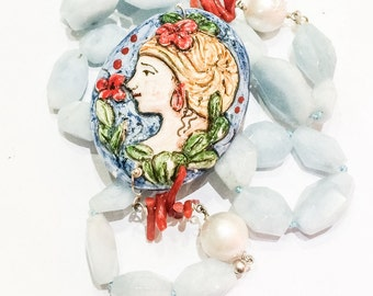 Aquamarine, Coral, Freshwater Pearl and Ceramic Necklace