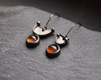Asymmetric geometric earrings, Oxidized silver earrings with Smokey agate, Translucent mineral earrings, Minimalist jewelry