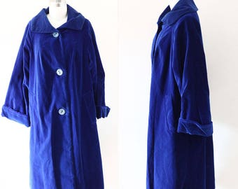 1960s blue velvet swing coat // royal blue coat // vintage coat